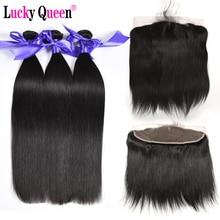 Lucky Queen Hair Brasilianisches gerades Haar Bundles mit Spitze Frontal 100% Echthaar Bundles mit frontal nicht remy Haarverlängerungen