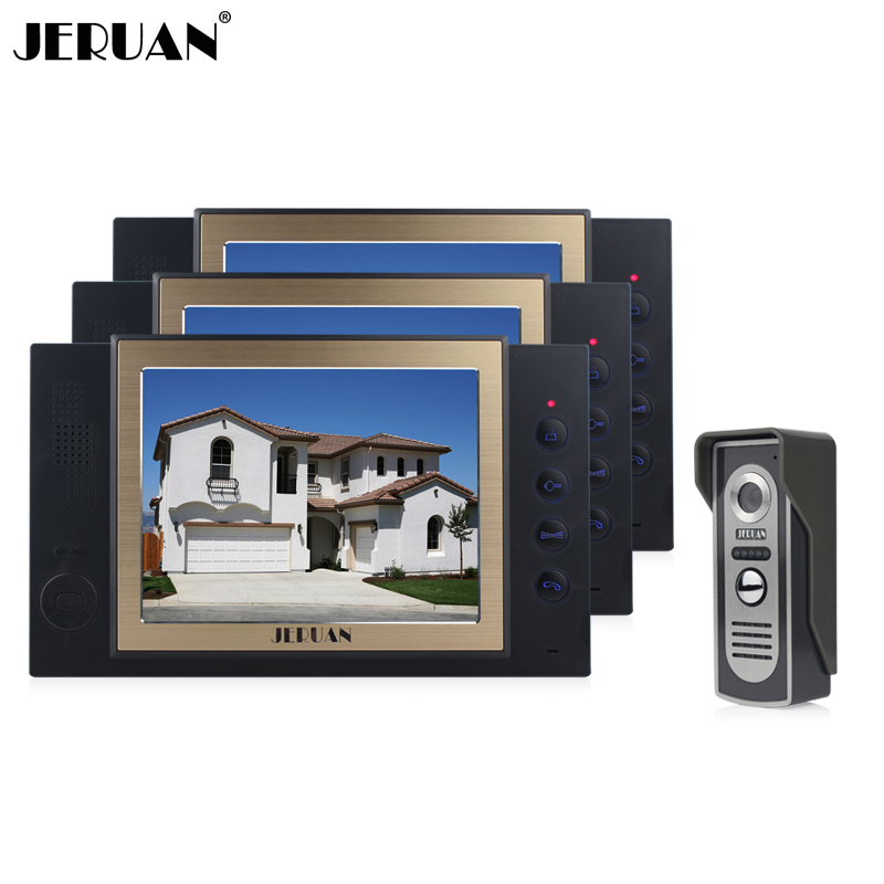 JERUAN 8 inch  video door phone intercom system doorphone recording photo taking 3 house 1 outdoor  doorbell speaker intercom jeruan home security system 2 outdoor 1 indoor with recording photo taking 8 inch video door phone doorbell intercom system