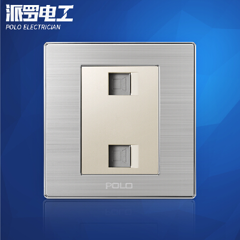 все цены на Wholesale POLO Luxury Wall Socket Panel, Double Computer Outlet, Champagne/Black, Electric Socket, 10A, 110~250V, 220V,86*86mm