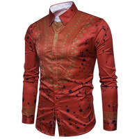 New fashion men's national wind 3D Self cultivation type lapel Leisure time camisa masculina shirts camisa streetwear