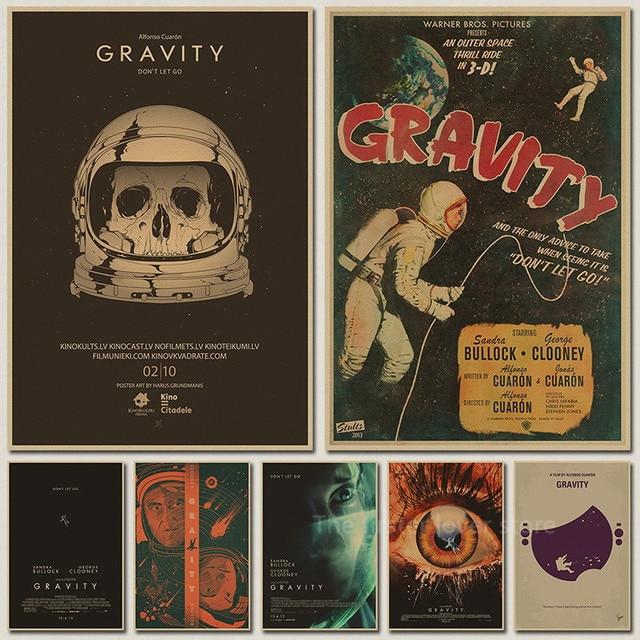 vintage poster gravity space movie poster retro space shuttle sandra