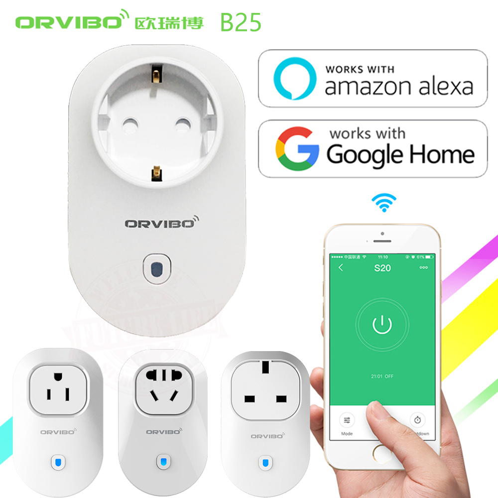 Alexa& Google Home Orvibo Home Automation B25 EU/U/UK/AU Smart Power Socket Plug 4G/WiFi Remote Control Switch for Smartphones