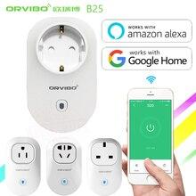 Tomada inteligente alexa & google home, plugue de energia b25 eu/u/reino unido/au g/wifi interruptor de controle remoto para smartphones