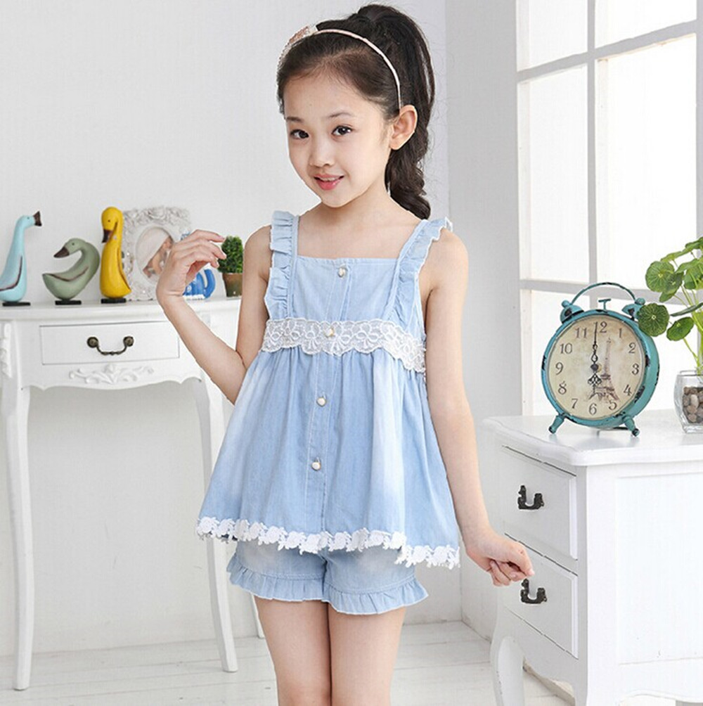 2015 Hot Lace Jeans Children Girls Sets Summer Kids Clothing Fashion Leisure Dress Pleated Top
