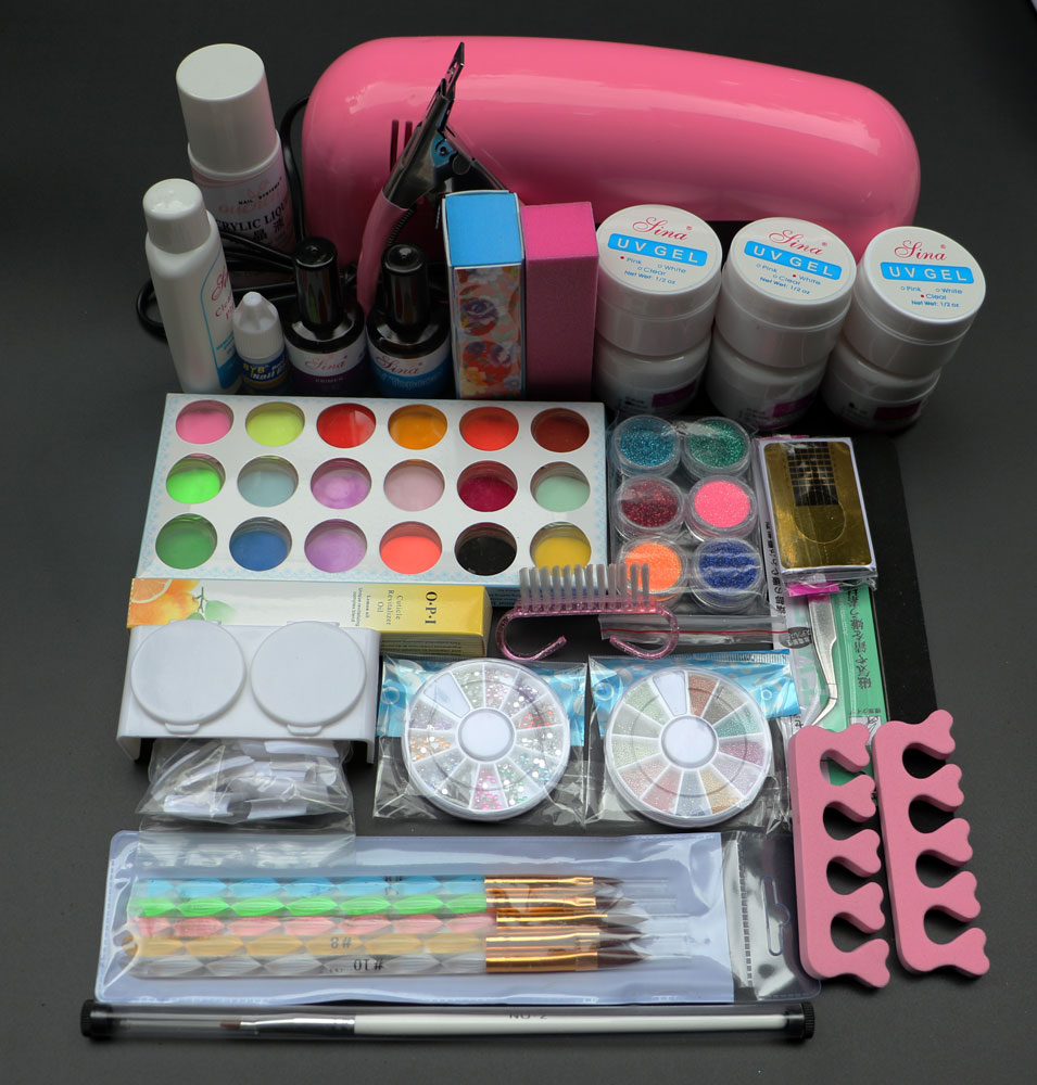 9W UV dryer lamp 18 color Acrylic Powder and 6 colors glitter powder Nail Art Kit ,nail art tools kit BTT-70 free shipping btt 138 pro nail polish eu us plug 9w uv lamp gel cure glue dryer 54 powder brush set kit at free shipping