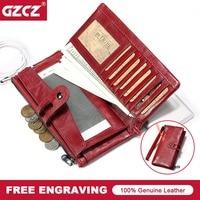 GZCZ Genuine Leather Wallet For Women Female RFID Blocking Wallets Big Travel Zipper Women S Purse