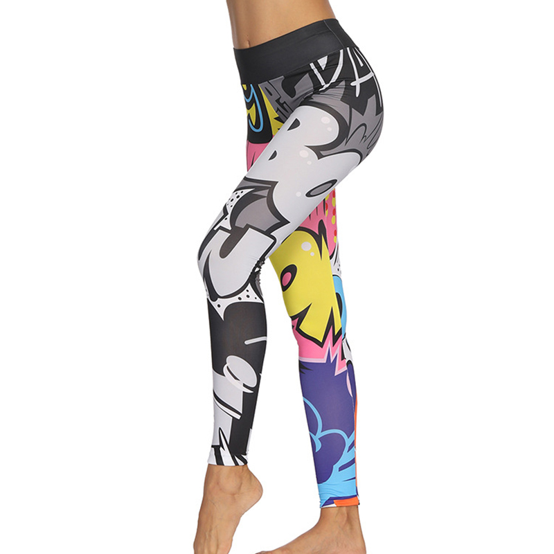 DropShipping Fashion Print Graffiti Leggings Sport Women Fitness Feminina Writer Cartoon Pants Workout Leggins Deportivas Mujer