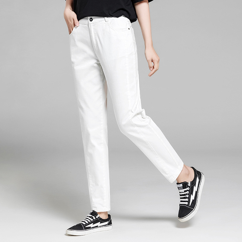 White Jeans Women 55 Cotton Blended Mid Waist Pockets Solid Ankle length Pants Simple Design Plus