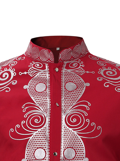 Mens Hipster African Print Dashiki Dress Shirt 2018 Brand New Tribal Ethnic Shirt Men Long Sleeve Shirts Africa Clothing Camisa 2