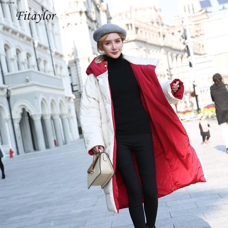 Fitaylor Winter Women Down Jacket Double Side Beige Red Hooded Parkas Long Snow Outwear Overcoat White