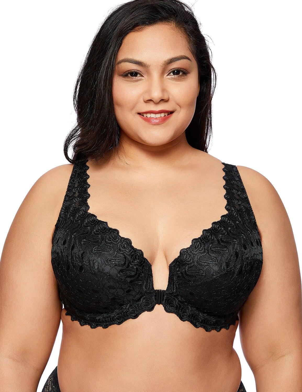 Delimira женский кружевной бюстгальтер без подкладки размера плюс с вышивкой на косточках - Цвет: Black01