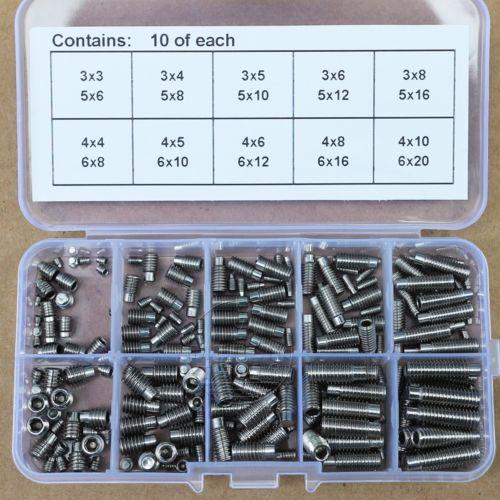 200pcs Stainless Steel M3 M4 M5 M6 Set Grub Screws Allen Head Hex Socket Screws 20pcs m6 25 stainless steel hex socket spring ball plunger set screws