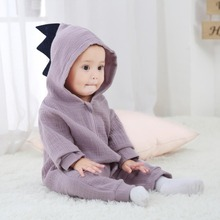 Newborn Baby Boys Girls Romper Cute Dinosaur Long Sleeve Warm Clothes Hooded Jumpsuit One-Pieces autumn baby fashion cute warm rompers cute rabbit ears design baby bunny hooded romper newborn boys and girls one pieces suits