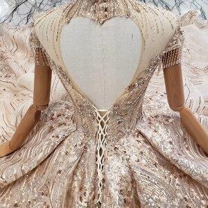 Image 5 - HTL509 高級ドバイイブニングドレスハイネックハート形背中クリスタル女性日 avond jurken