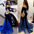 2017 Boat-Neck Royal Blue Long Sleeve Velvet Evening Dresses Mermaid Gold Appliques Black Girl Prom Dress