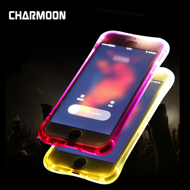 wholesale dealer 90e67 d69fb US $2.9 |CHARMOON LED Flash Light Phone Case For iPhone 8 8Plus Case TPU  Transparent Call Flash Luminous Back Covers for iPhone 7 6 Plus-in Fitted  ...