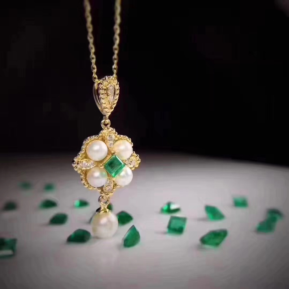 Natural green emerald gem pendant S925 silver Natural gemstone Pendant Necklace trendy Flower Pearl women party jewelry