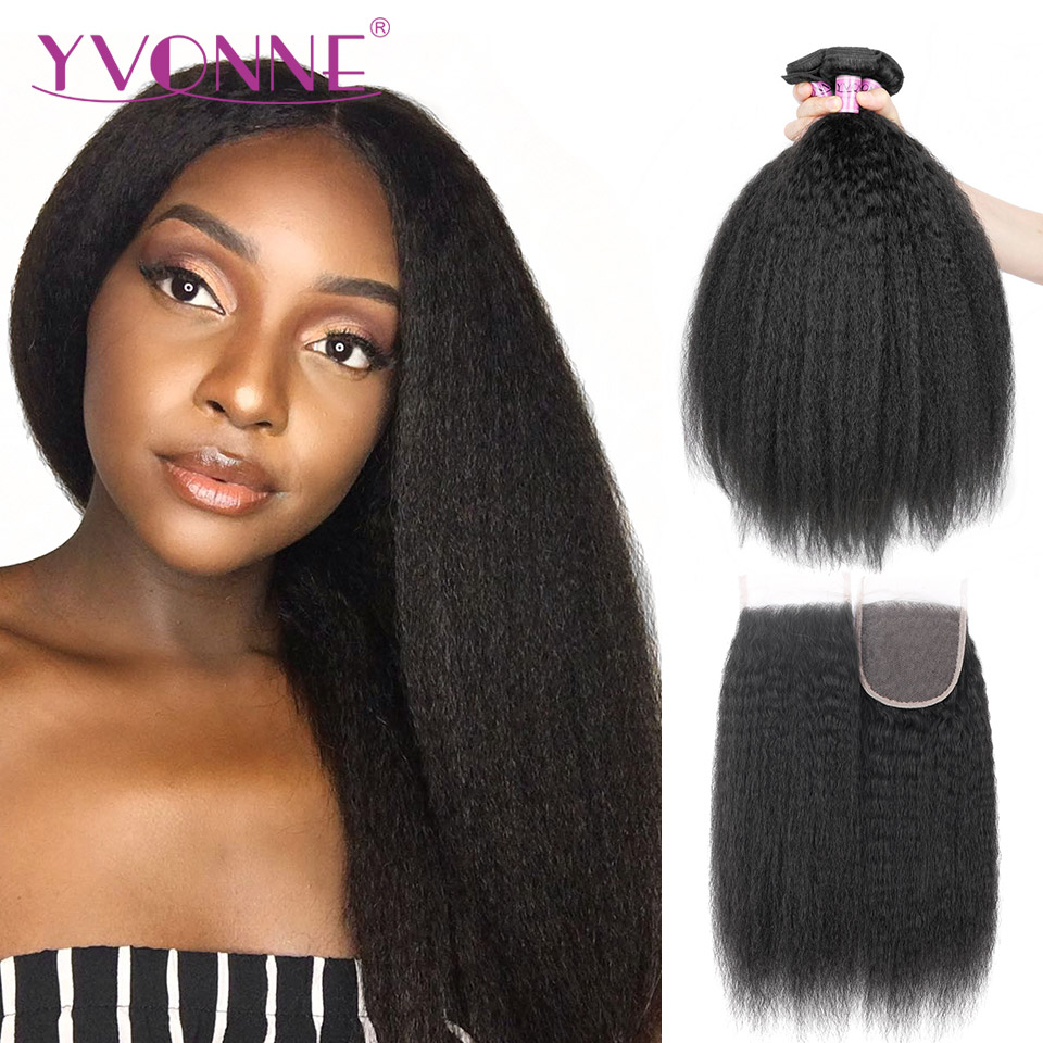 Yvonne Kinky Straight Human Hair Bundles With Closure 3 Bundles Brazilian Virgin Hair Weave With Lace Closure 4x4