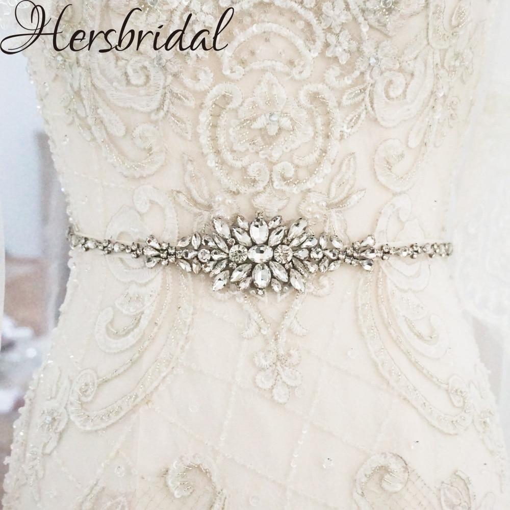 Crystal Wedding Belt Silver Bridal Belt 2018 Sash Belt For Wedding Dresses