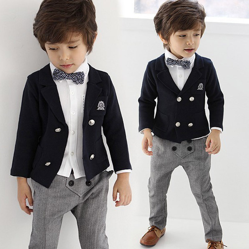 ФОТО 2-8 age 4 pieces fashion wedding suits for baby boys gentleman kids clothes set  toddler boys tracksuit children formal clothing