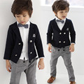 2-8 age 4 pieces fashion wedding suits for baby boys gentleman kids clothes set  toddler boys tracksuit children formal clothing