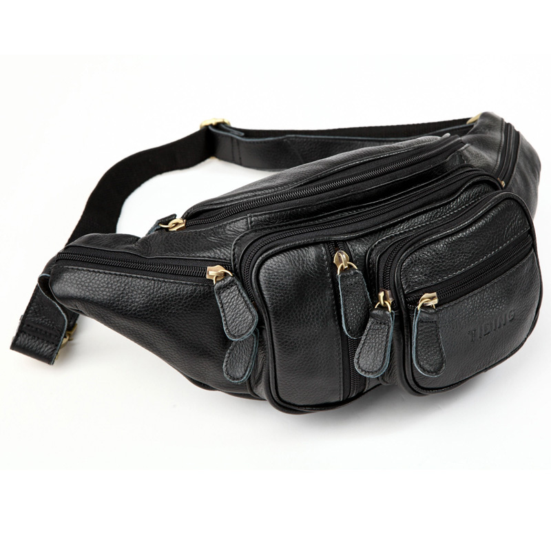 ФОТО TIDING Genuine Leather Men Black Waist Fanny Packs Bum Bag Top quality Fashion  3037