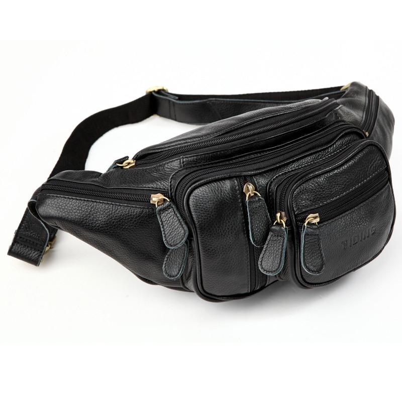 TIDING Genuine Leather Men Black Waist Fanny Packs Bum Bag Top Quality Fashion 3037