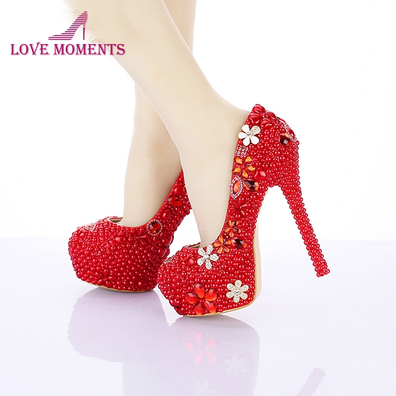 Red Pearl Wedding Shoes 14cm High Heel Round Toe Bridal Dress Shoes Custom Made Platform Pumps Crystal Valentine Party Shoes