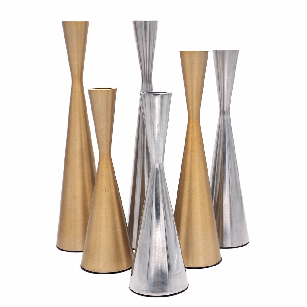 Classical Candlestick Hollow Iron Candlestick Candle Holder Stand Wedding Party Home Decoration Gold/Silver C42
