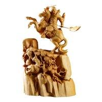 Из цельной древесины в китайском стиле Дракон Guangong Guanyu, генералы воин солдат Бог Статуя Восток украшения дома