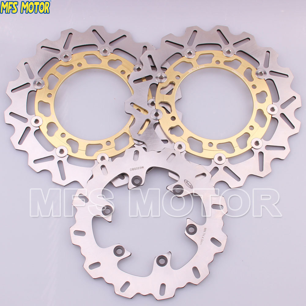 MFS MOTOR Front Rear Brake Discs Rotor For Yamaha YZFR1 1998 1999 2000 2001 YZFR6 1998 1999 2000 2001 2002 YZF R6 98 - 02 Gold mfs motor motorcycle part front rear brake discs rotor for yamaha yzf r6 2003 2004 2005 yzfr6 03 04 05 gold