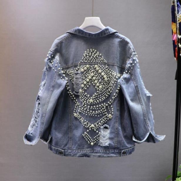 2018 autumn New Korean women fashion beaded hole denim jacket long sleeve pearl coat female jean