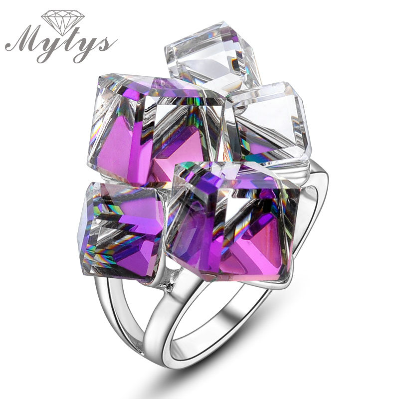 Mytys Geometric Square Purple Clear Crystal Cocktail Rings for Women R833 3c matx r833 black