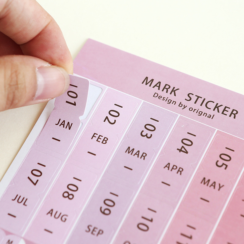8pcs/lot Index Tabs Reminder Stickers Calendar Monthly Index DIY Diary Scrapbook Personal Planner Paper/PVC Self-Adhesive Labels