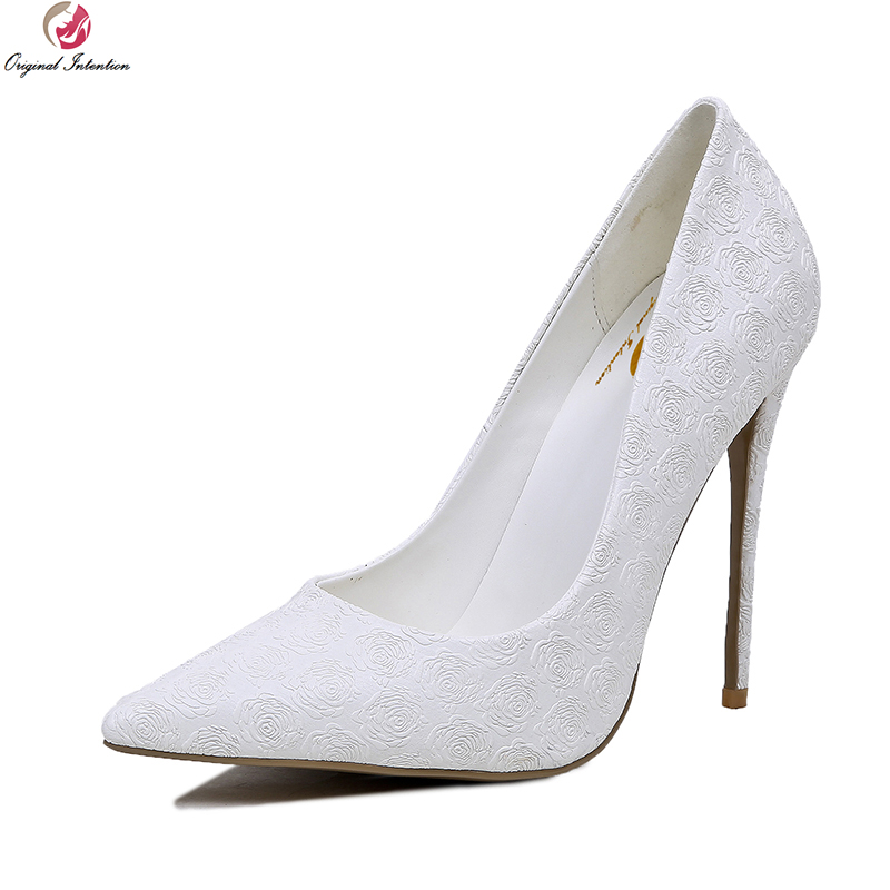 Original Intention New Grace Women Pumps Sexy Pointed Toe Thin Heels Wedding Pumps Elegant White Shoes Woman Plus Size 4-10.5 famiao women pumps goddess party wedding shoes 2017 new thin heels new zapatos mujer pointed toe golden superstar shoes