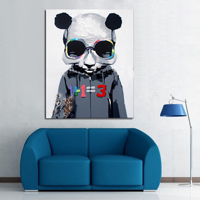 Handpainted Modern Euro Style Wall Art Picture Living Room Home Decor Abstract Cool Panda Cartoon Animal Oil Painting On Canvas
