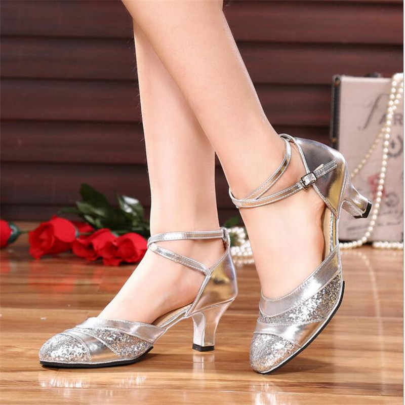 611ab9f9df0 Girls Leather Shoes Female Children Latin Ballroom Dance Shoes Female Kids  Dancing Shoes High Heel 3