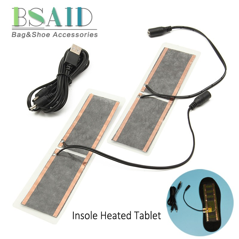 BSAID 5V USB Heated Tablet Women Men Winter Insoles Shoes Warmer Heater Pads, Electric Carbon Heating Sheet for Shoes Clothes 5v usb electric clothes heater sheet adjustable temperature winter heated gloves for cloth pet heating pad waist warmer tablet