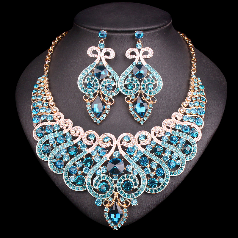 Fashion Bridal Jewelry Sets Wedding Engagement Necklace Earring for Bride Party Costume Accessories Indian Jewellery Sets Women beautiful red leaves indian crystal jewellery bridal jewelry set gold color women gifts party wedding prom necklace earring sets