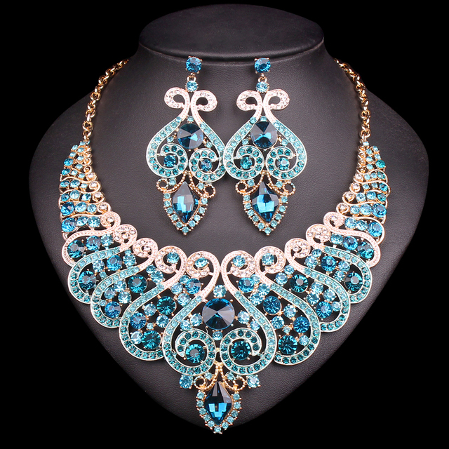 Fashion Bridal Jewelry Sets Wedding Engagement Necklace Earring For Bride Party Costume Accessories Indian Jewellery