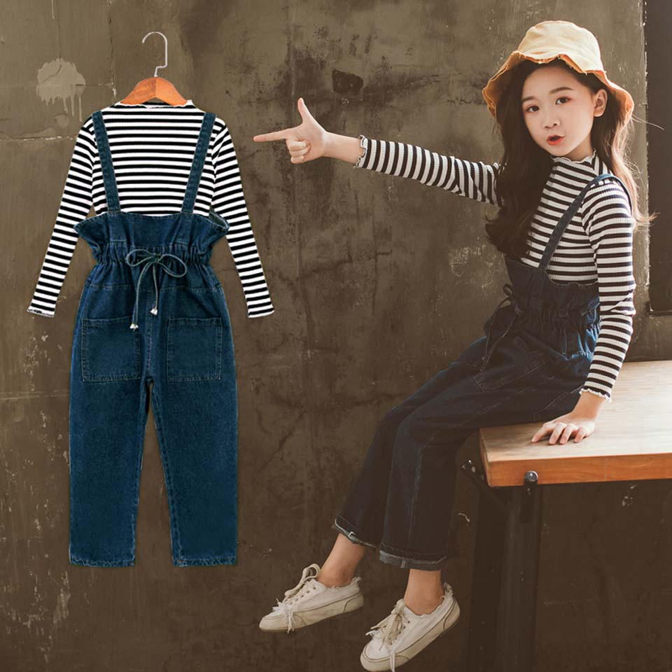 Casual Spring Autumn Girls Clothing Sets Cotton Long Sleeve Stripe O-neck Tops And Bow Jeans Child Clothes Suits 4 To 13 Years