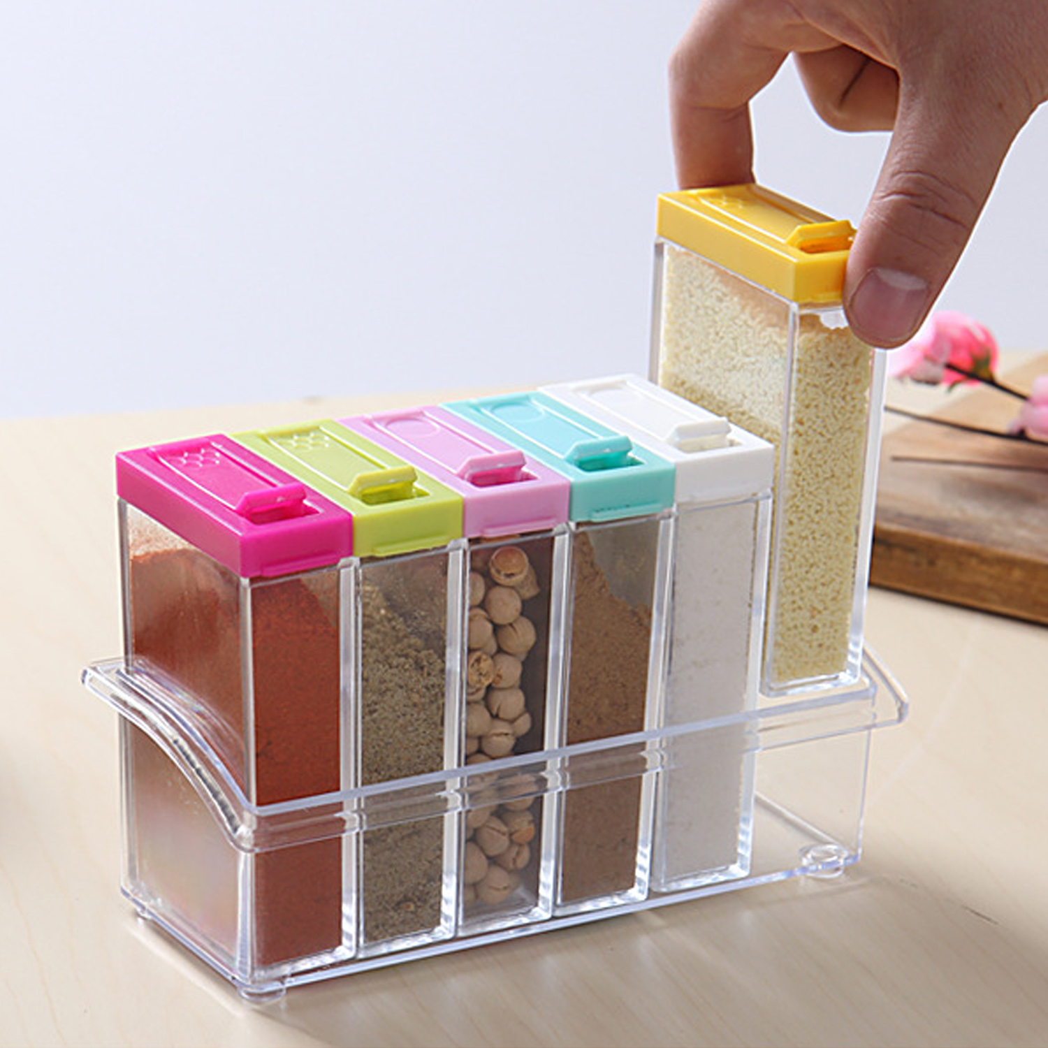 NC 6PCS Clear Shaker Shaking Tempero Seasoning Box Jar Spice Condiment Pots Storage Container Organizer Cruet