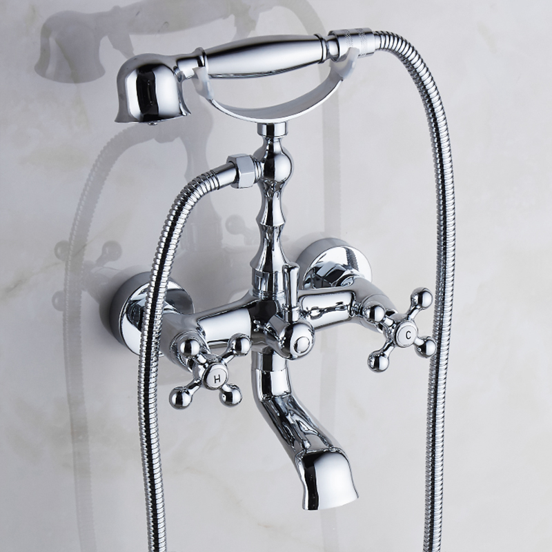 Shower Equipment Sincere Vidric Bathtub Faucet Brass Chrome Silver Wall Mounted Rain Shower Faucet Round Handheld 2 Handle Luxury Bathroom Mixer Tap S Let Our Commodities Go To The World