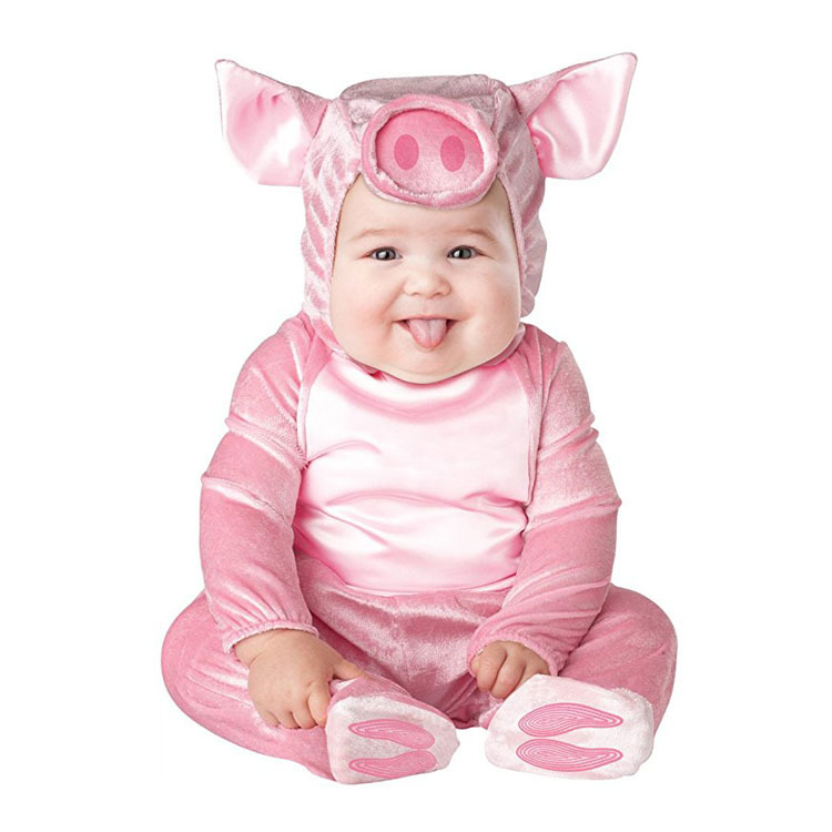 New Baby Halloween Rompers Cute Animal Cosplay Boys Jumpsuits Pink Pig Girls Shape Baby Costumes Infants Clothes Christmas Gift brand infants costume series animal clothing set lion monster owl cow clasp elephant kangroo baby cosplay cute free shipping