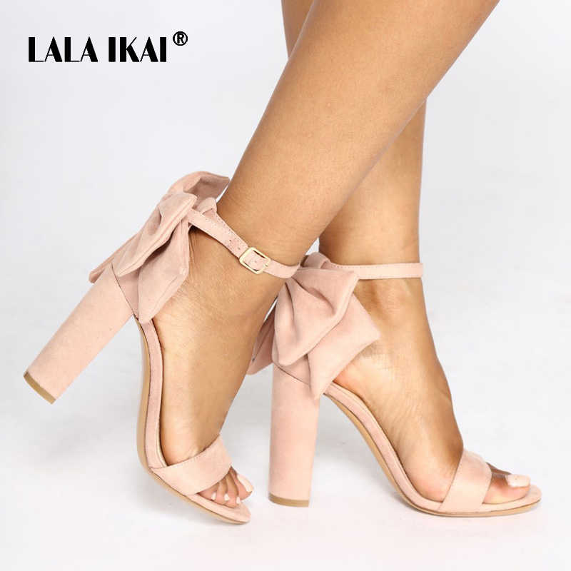 013f94db7 LALA IKAI Women Flock Buckle Strap Party Wedding Sandals Ladies Square Heels  Butterfly-knot Decoration