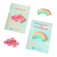 1pack/lot Macaron Style Sweet Rainbow Clouds Shape Mini Memo Sticker Pad Kawaii Sticky Note Message Label Post Party Gift