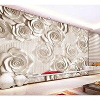 Любой размер 3D Настенные обои, новая современная мода Роза рельефные обои 3d цветы настенные фрески для гостиной #259