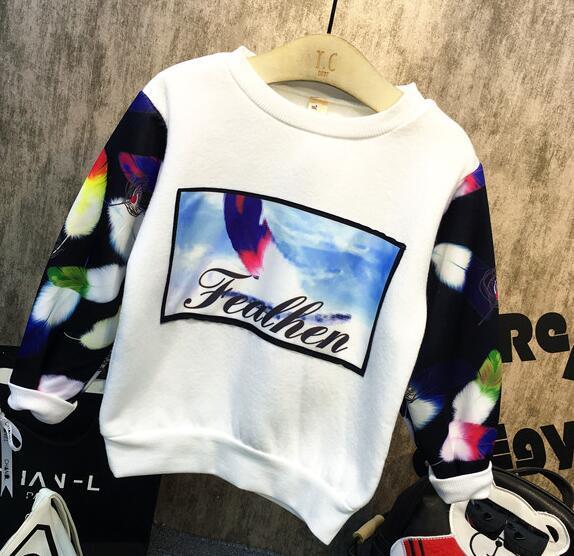 2016 niños del invierno y el otoño de los niños nuevos muchachos calientes plus carta jersey de impresión grueso suéter de los niños camisa linda