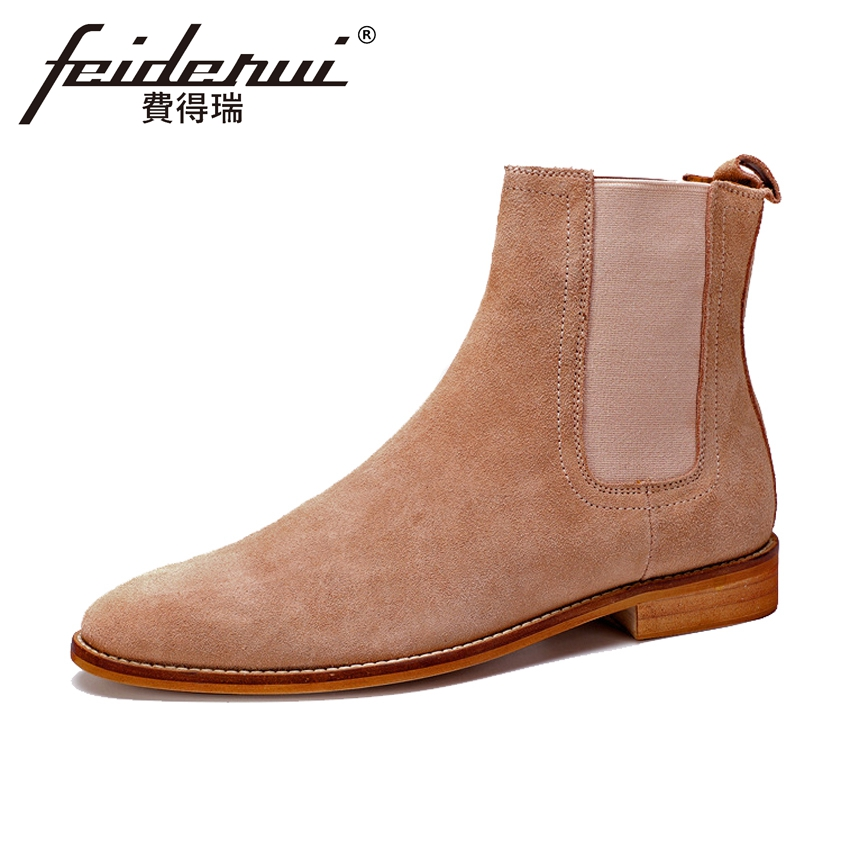 Plus Size New Designer Genuine Leather Men's Chelsea Ankle Boots Fashion Round Toe Cow Suede Cowboy Riding Shoes For Man ASD89 new summer designer man handmade breathable chelsea shoes male genuine leather men s round toe cowboy riding ankle boots ss347