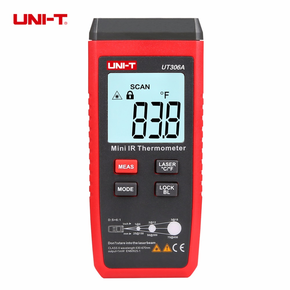 UNI-T UT306A Mini LCD Infrared Thermometer -35-300 Degree -31-572 IR Temperature Meter Backlight